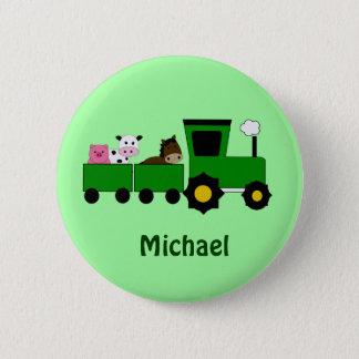 Kids Tractor  Birthday Favor Button