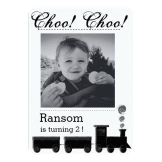 Kid's train birthday party invitation. card