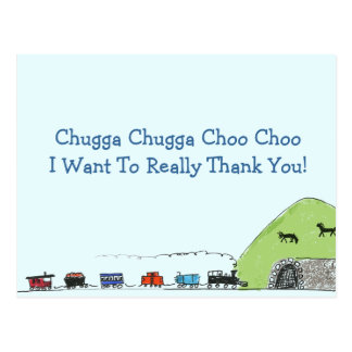 Kids Train Choo Choo Thank You Postcards