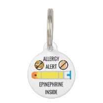 Kids Tree Nut Egg Allergy Alert Epinephrine Inside Pet ID Tag