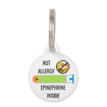 Kids Tree Nut Peanut Allergy Epinephrine Emergency Pet ID Tag