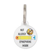 Kids Tree Nut Peanut Allergy Epinephrine Emergency Pet Tag