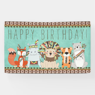 Kids Tribal Birthday Party Banner