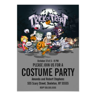 Kids Trick or Treat Halloween Costume Party Card