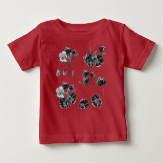 Kids tshirt with Folk flowers  /   Red
