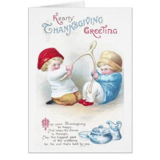 Kids Tug on Giant Wishbone Vintage Thanksgiving Greeting Cards
