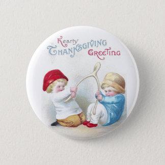 Kids Tug on Giant Wishbone Vintage Thanksgiving Pinback Button