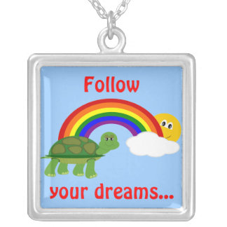 Kids Turtle Following Rainbow Follow Your Dreams Silver Plated Necklace