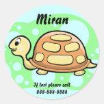 Kids Turtle ID Badge Round Stickers
