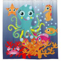 Kids Under the Sea Ocean Aquatic Octopus Fish Shower Curtain