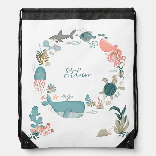 Kids Under the Sea Personalized Name Watercolor Drawstring Bag