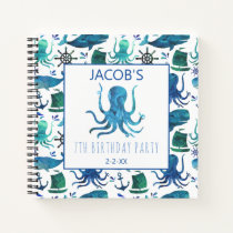 Kids Under The Sea Watercolor Nautical Octopus Notebook