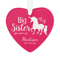 Kids Unicorn Big Sister Sibling Girls Christmas Ornament