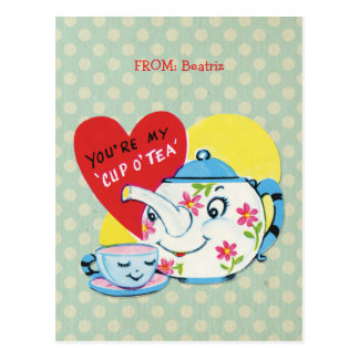 Kids Valentines Day Cute Tea Set Retro Valentine Postcard