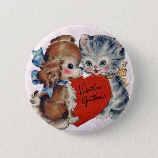 Kid's Vintage Kitten & Puppy Valentine Pin