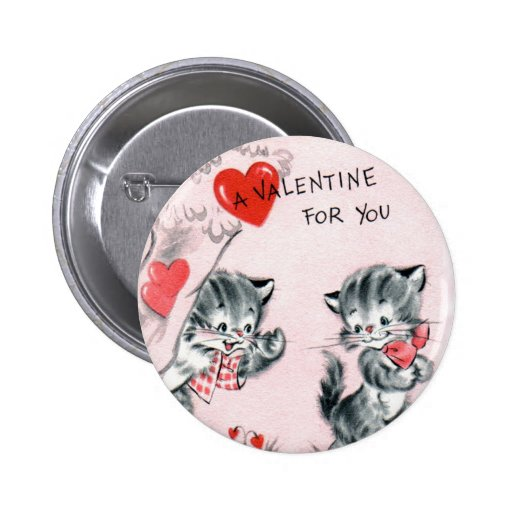 Kid's Vintage Kitten Valentine Pin
