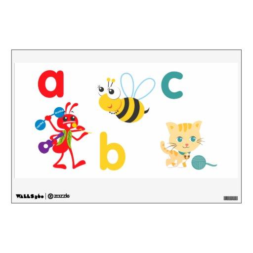 Kids Wall Art - Animals Ant, Bee, Cat Wall Sticker