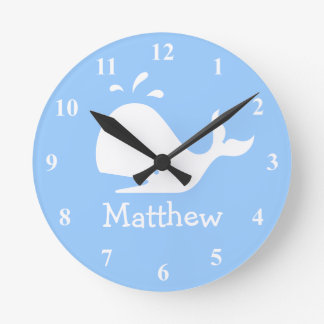 Kids wall clock with cute whale cartoon and name