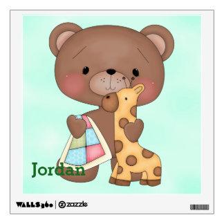Kid's Wall Decal Cute Baby Teddy Bear Giraffe
