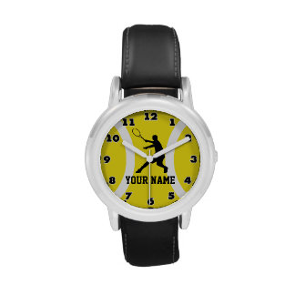 Kids watch with tennis design and custom name