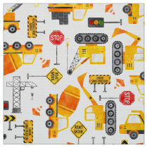 Kids Watercolor Construction Vehicles Fabric