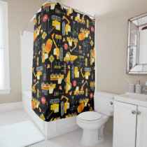 Kids Watercolor Construction Vehicles Pattern Shower Curtain