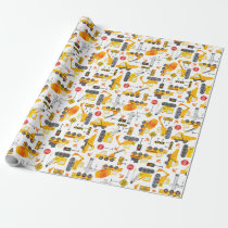 Kids Watercolor Construction Vehicles Pattern Wrapping Paper
