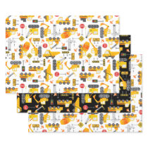 Kids Watercolor Construction Vehicles Pattern Wrapping Paper Sheets
