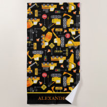 Kids Watercolor Construction Vehicles Personalized Beach Towel