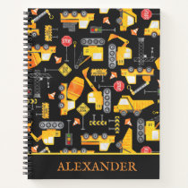 Kids Watercolor Construction Vehicles Personalized Notebook