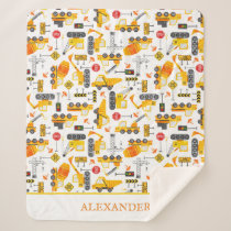 Kids Watercolor Construction Vehicles Personalized Sherpa Blanket