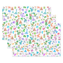 Kids Watercolor Dinosaur Alphabet Wrapping Paper Sheets