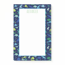 Kids Watercolor Dinosaur Pattern Blue Post-it Notes
