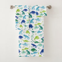 Kids Watercolor Dinosaur Silhouette Pattern Boys Bath Towel Set