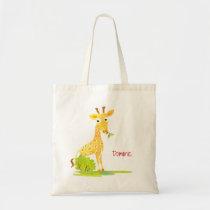 Kids Watercolor Giraffe Personalized Cute Animal Tote Bag