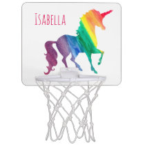 Kids Watercolor Rainbow Unicorn Beautiful Fun Mini Basketball Hoop