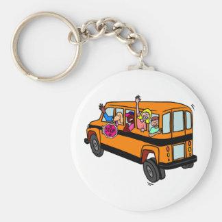Kids Waving From School Bus Basic Round Button Keychain
