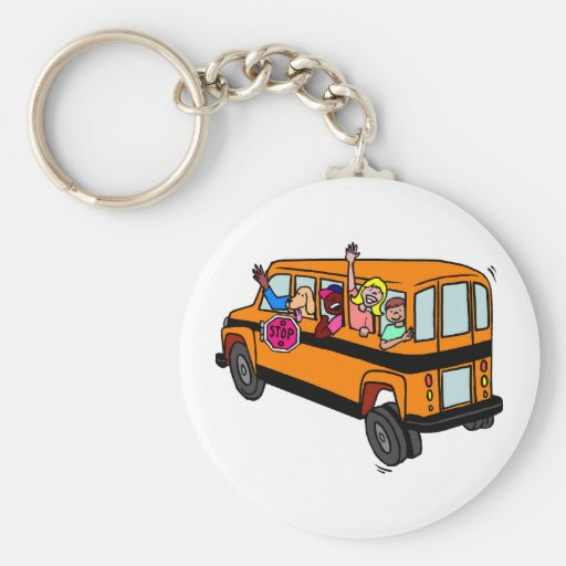 Kids Waving From School Bus Keychain