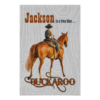 Kid's Western Themed Custom Name Buckaroo Poster