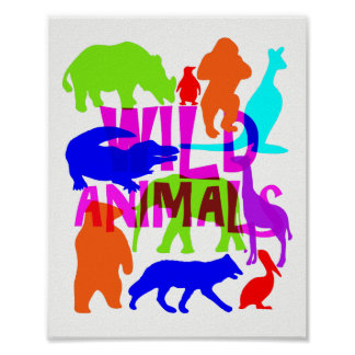 Kids Wild Animals Colorful Bright Cute Poster