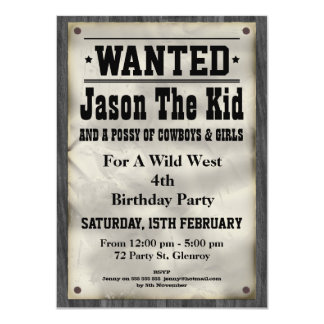 Kids Wild West Wanted Poster Birthday Invitation