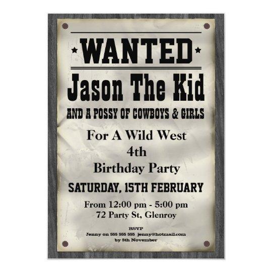 kids_wild_west_wanted_poster_birthday_invitation rab3421e96a8f49c58dc0412477aec80f_zk9li_540?rlvnet=1 kids wild west wanted poster birthday invitation zazzle,Wanted Poster Birthday Invitations