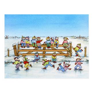 Kids Winter Fun on Fence - Christmas Post Card
