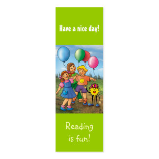 Kids with baloons bookmark for young books lovers! mini business card