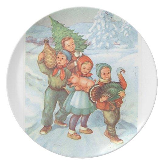 Kids with Christmas Pig, Turkey and Tree Melamine Plate