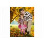 Kids with golden autumn background 7343 postcard