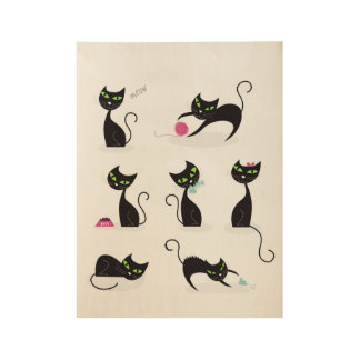 Kids wood poster with Black cats