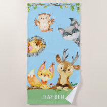 Kids Woodland Animals Forest Creatures Cute Beach Towel