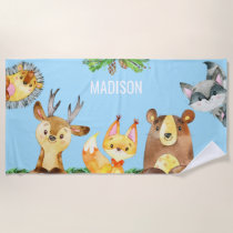 Kids Woodland Creatures Forest Animals Watercolor Beach Towel