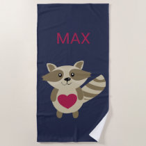 Kids Woodland Raccoon Adorable Personalized Animal Beach Towel